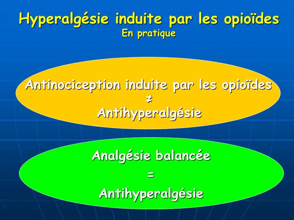 Antinociception induite par les opioïdes Antihyperalg é sie Analgésie balancée = Antihyperalg é sie Hyperalgésie induite par les opioïdes En pratique