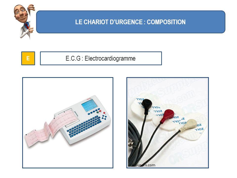 LE CHARIOT DURGENCE : COMPOSITION E E.C.G : Electrocardiogramme