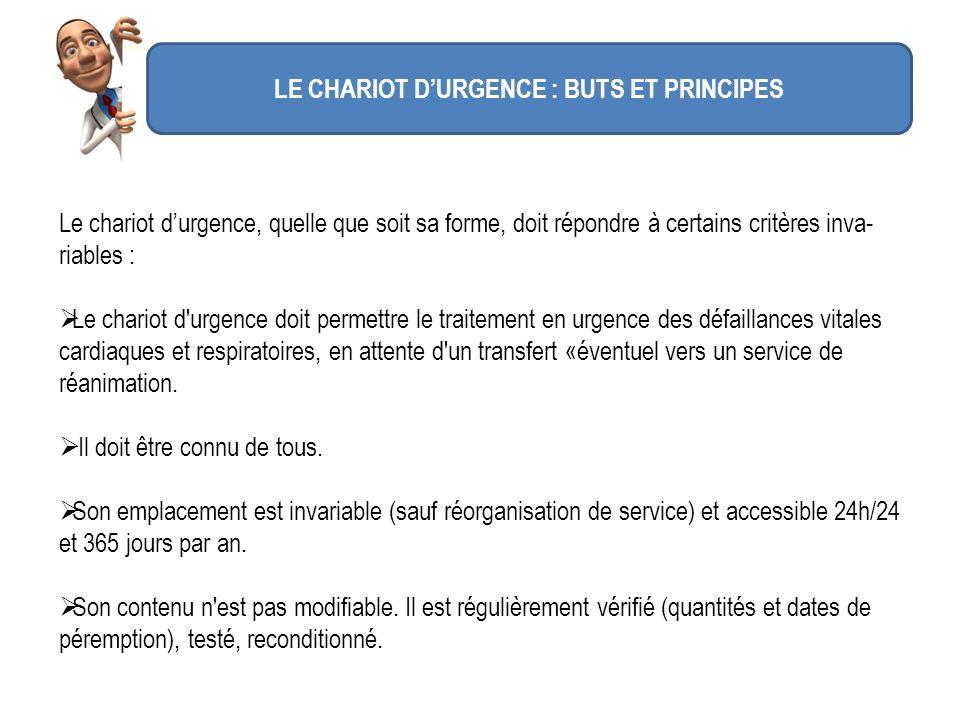 LE CHARIOT DURGENCE : BUTS ET PRINCIPES Le chariot durgence, quelle que soit sa forme, doit répondre à certains critères inva- riables : Le chariot d'