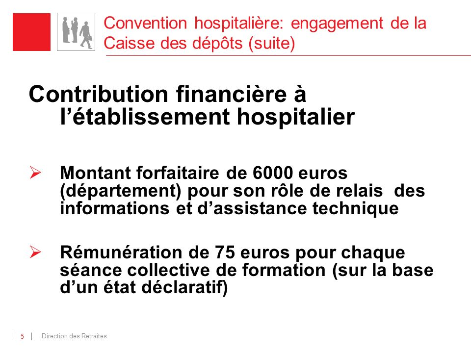Direction des Retraites 5 Convention hospitalière: engagement de la Caisse des dépôts (suite) Contribution financière à létablissement hospitalier Mon