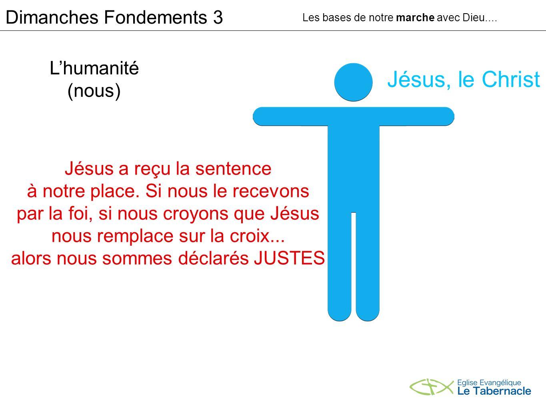 Lhumanité (nous) Jésus, le Christ Jésus a reçu la sentence à notre place. Si nous le recevons par la foi, si nous croyons que Jésus nous remplace sur