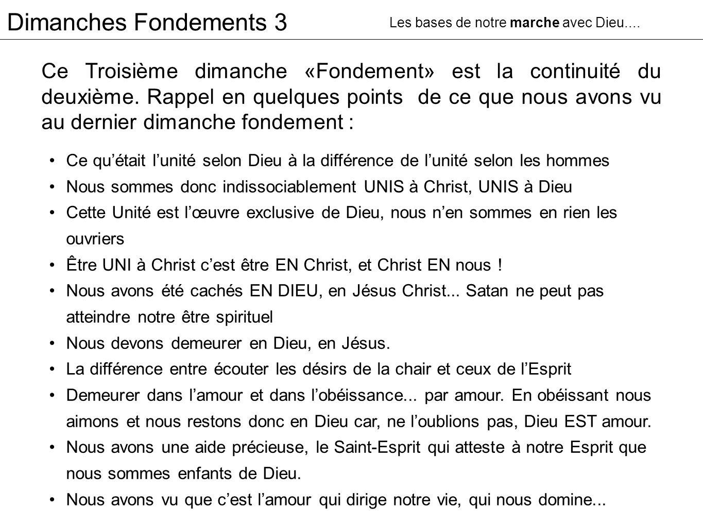 Dimanches Fondements 3 La Sanctification Les bases de notre marche avec Dieu....