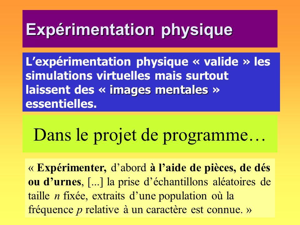 Expérimentation physique images mentales Lexpérimentation physique « valide » les simulations virtuelles mais surtout laissent des « images mentales »