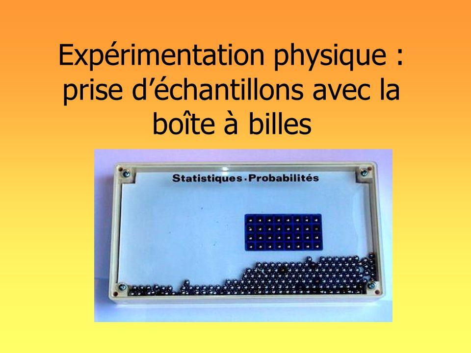 Expérimentation physique : prise déchantillons avec la boîte à billes