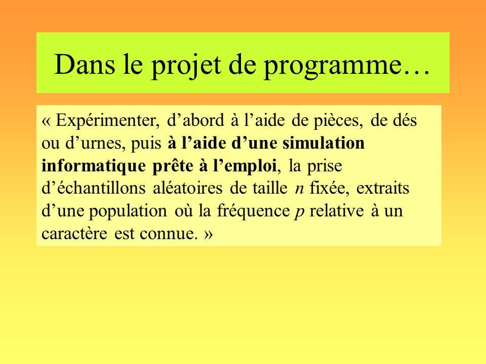 Dans le projet de programme… « Expérimenter, dabord à laide de pièces, de dés ou durnes, puis à laide dune simulation informatique prête à lemploi, la
