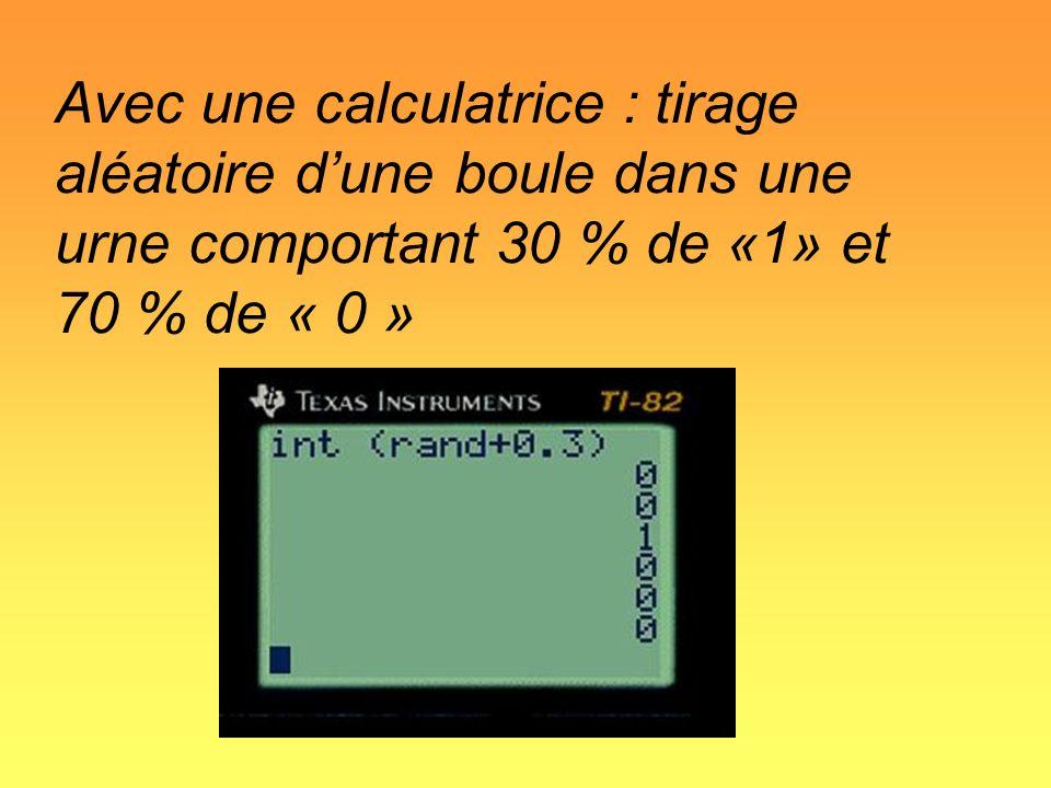 Avec une calculatrice : tirage aléatoire dune boule dans une urne comportant 30 % de «1» et 70 % de « 0 »