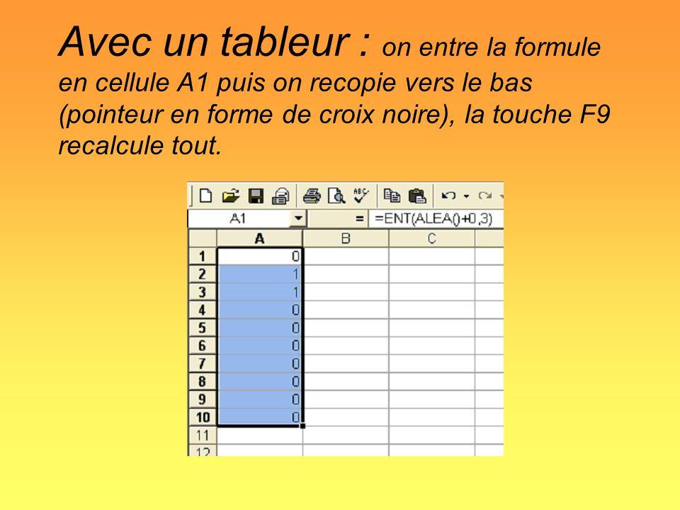 Avec un tableur : on entre la formule en cellule A1 puis on recopie vers le bas (pointeur en forme de croix noire), la touche F9 recalcule tout.