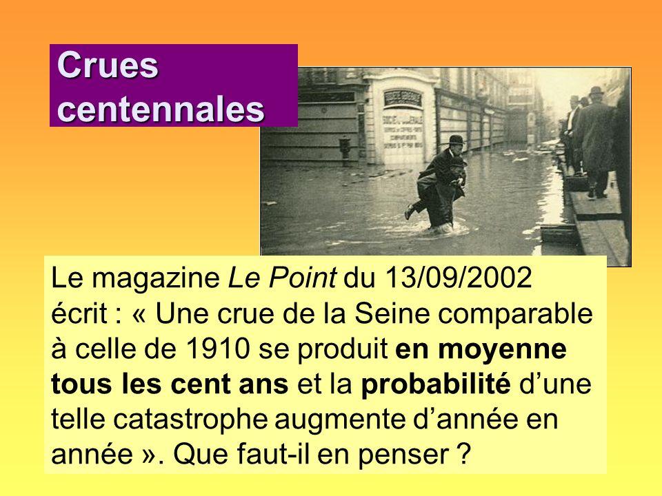 Le magazine Le Point du 13/09/2002 écrit : « Une crue de la Seine comparable à celle de 1910 se produit en moyenne tous les cent ans et la probabilité