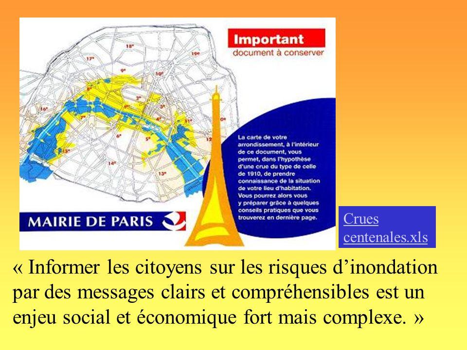 « Informer les citoyens sur les risques dinondation par des messages clairs et compréhensibles est un enjeu social et économique fort mais complexe. »