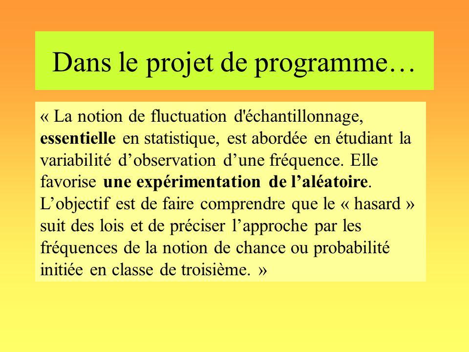 Dans le projet de programme… « La notion de fluctuation d'échantillonnage, essentielle en statistique, est abordée en étudiant la variabilité dobserva