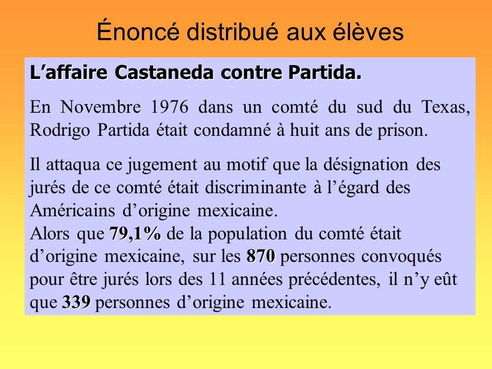 Énoncé distribué aux élèves Laffaire Castaneda contre Partida. En Novembre 1976 dans un comté du sud du Texas, Rodrigo Partida était condamné à huit a