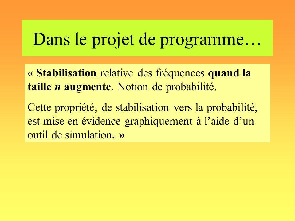 Dans le projet de programme… « Stabilisation relative des fréquences quand la taille n augmente. Notion de probabilité. Cette propriété, de stabilisat