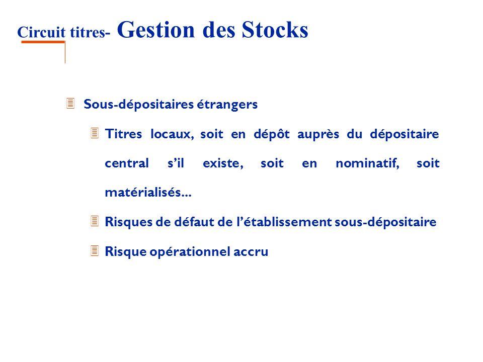 Circuit titres- Gestion des Stocks 3 Sous-dépositaires étrangers 3 Titres locaux, soit en dépôt auprès du dépositaire central sil existe, soit en nomi