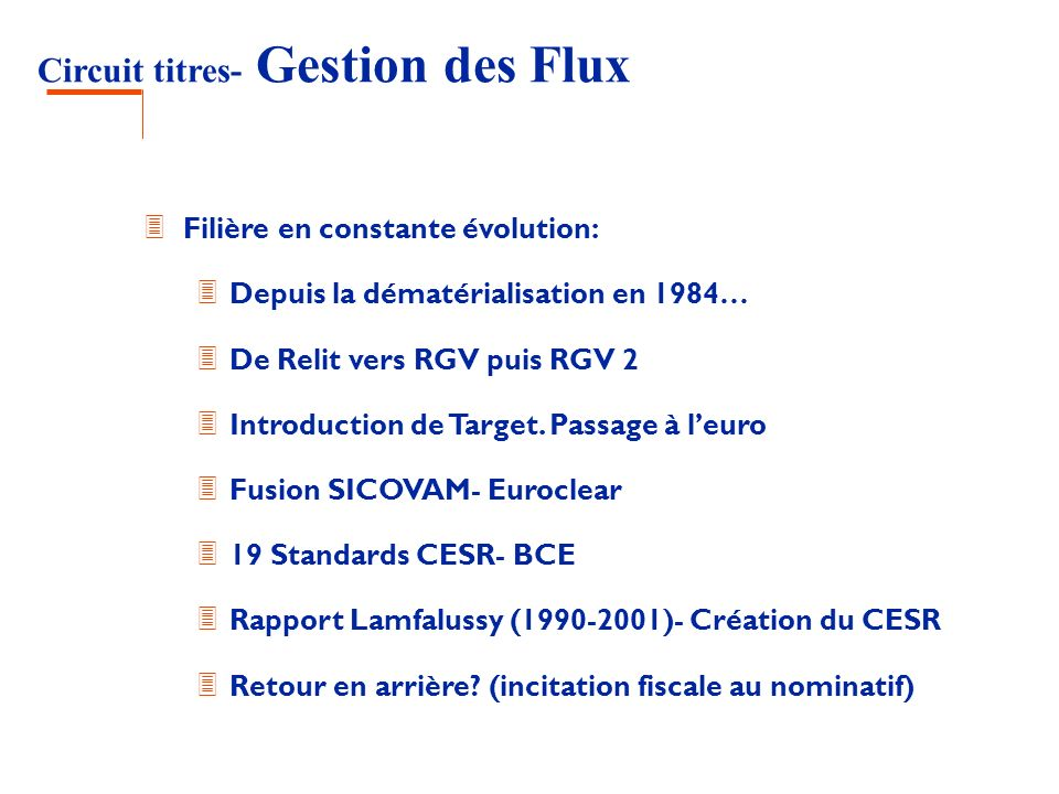 Circuit titres- Gestion des Flux 3 Filière en constante évolution: 3 Depuis la dématérialisation en 1984… 3 De Relit vers RGV puis RGV 2 3 Introductio
