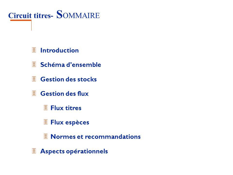 Circuit titres- S OMMAIRE 3 Introduction 3 Schéma densemble 3 Gestion des stocks 3 Gestion des flux 3 Flux titres 3 Flux espèces 3 Normes et recommand