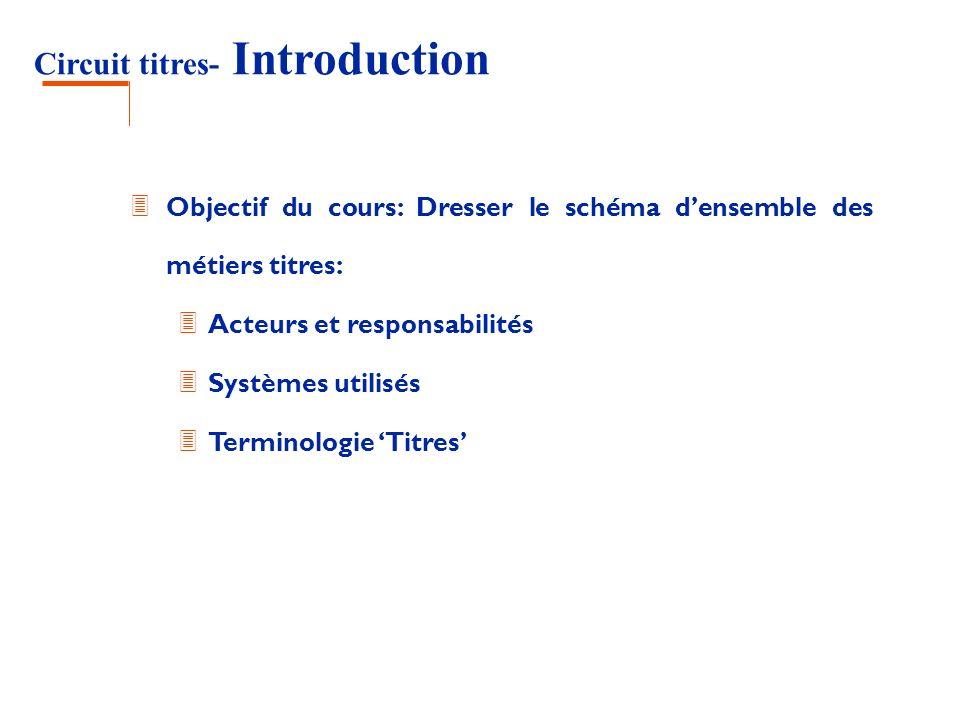 Circuit titres- Introduction 3 Objectif du cours: Dresser le schéma densemble des métiers titres: 3 Acteurs et responsabilités 3 Systèmes utilisés 3 T