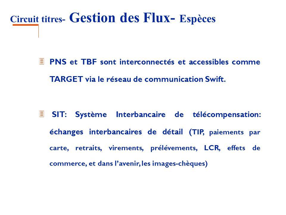 Circuit titres- Gestion des Flux- Espèces 3 PNS et TBF sont interconnectés et accessibles comme TARGET via le réseau de communication Swift. 3 SIT: Sy