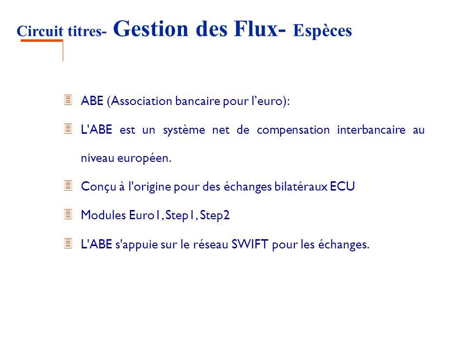 Circuit titres- Gestion des Flux- Espèces ABE (Association bancaire pour leuro): 3 L'ABE est un système net de compensation interbancaire au niveau eu