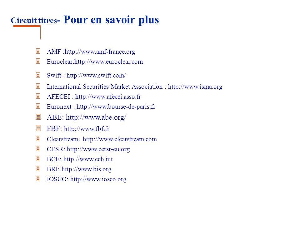 Circuit titres - Pour en savoir plus 3 AMF :http://www.amf-france.org 3 Euroclear:http://www.euroclear.com 3 Swift : http://www.swift.com/ 3 Internati