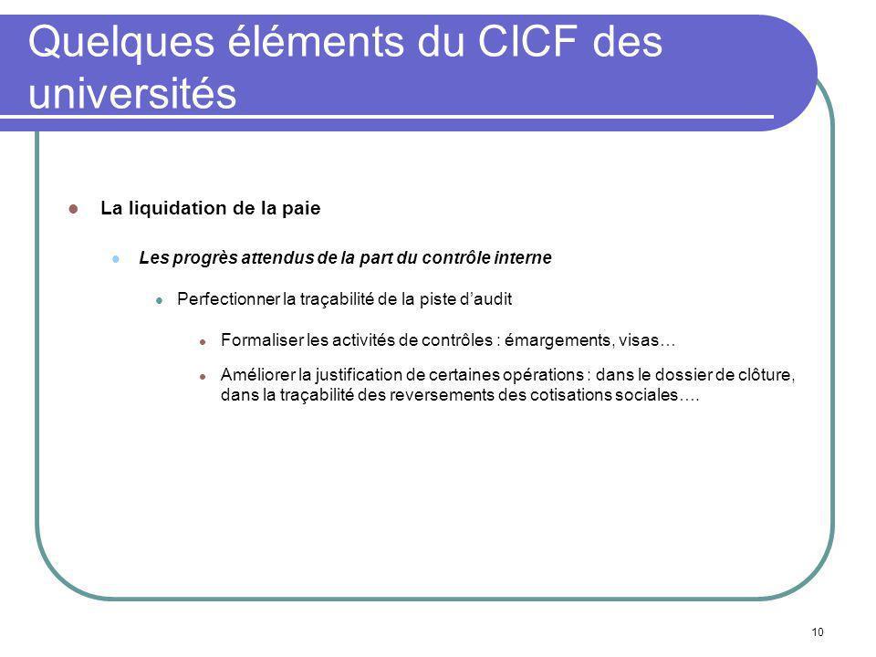 10 Quelques éléments du CICF des universités La liquidation de la paie Les progrès attendus de la part du contrôle interne Perfectionner la traçabilit