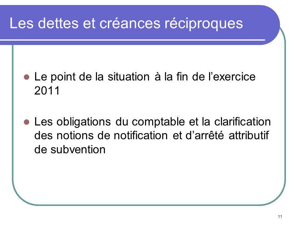 11 Les dettes et créances réciproques Le point de la situation à la fin de lexercice 2011 Les obligations du comptable et la clarification des notions