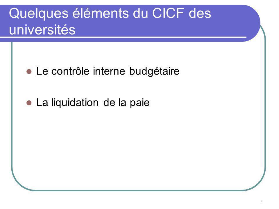 3 Quelques éléments du CICF des universités Le contrôle interne budgétaire La liquidation de la paie