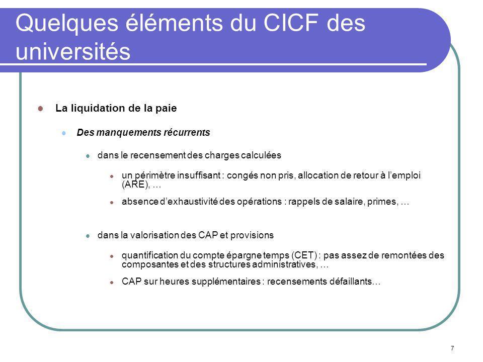 7 Quelques éléments du CICF des universités La liquidation de la paie Des manquements récurrents dans le recensement des charges calculées un périmètr