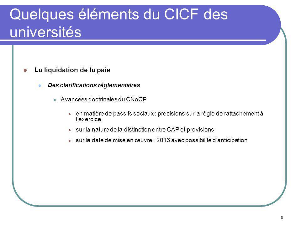 8 Quelques éléments du CICF des universités La liquidation de la paie Des clarifications réglementaires Avancées doctrinales du CNoCP en matière de pa