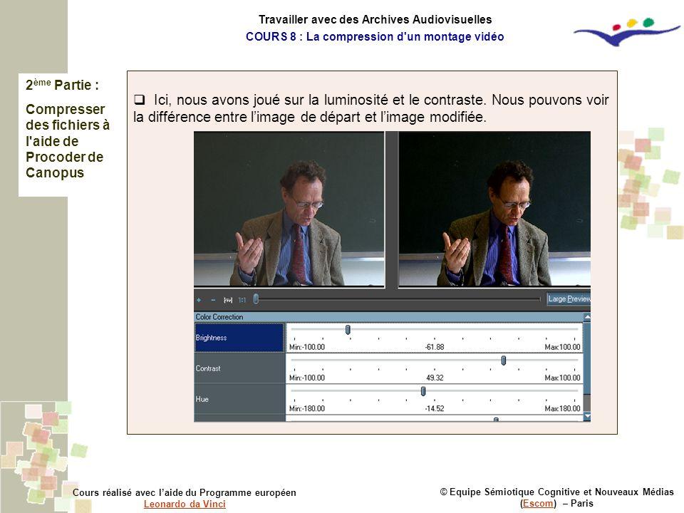 2 ème Partie : Compresser des fichiers à l'aide de Procoder de Canopus © Equipe Sémiotique Cognitive et Nouveaux Médias (Escom) – ParisEscom Cours réa