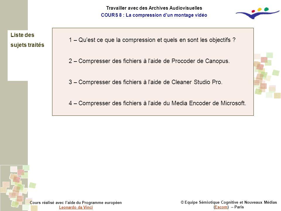 Liste des sujets traités © Equipe Sémiotique Cognitive et Nouveaux Médias (Escom) – ParisEscom Cours réalisé avec laide du Programme européen Leonardo
