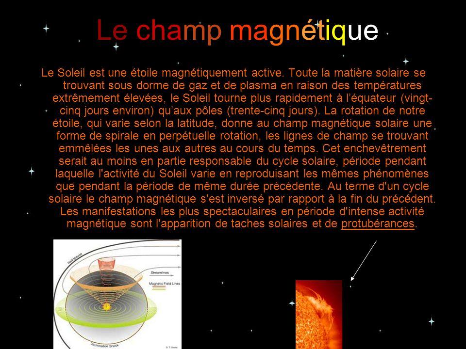 Le champ magnétique Le Soleil est une étoile magnétiquement active. Toute la matière solaire se trouvant sous dorme de gaz et de plasma en raison des