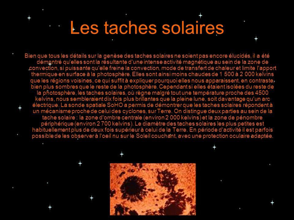 Les taches solaires Bien que tous les détails sur la genèse des taches solaires ne soient pas encore élucidés, il a été démontré qu'elles sont la résu