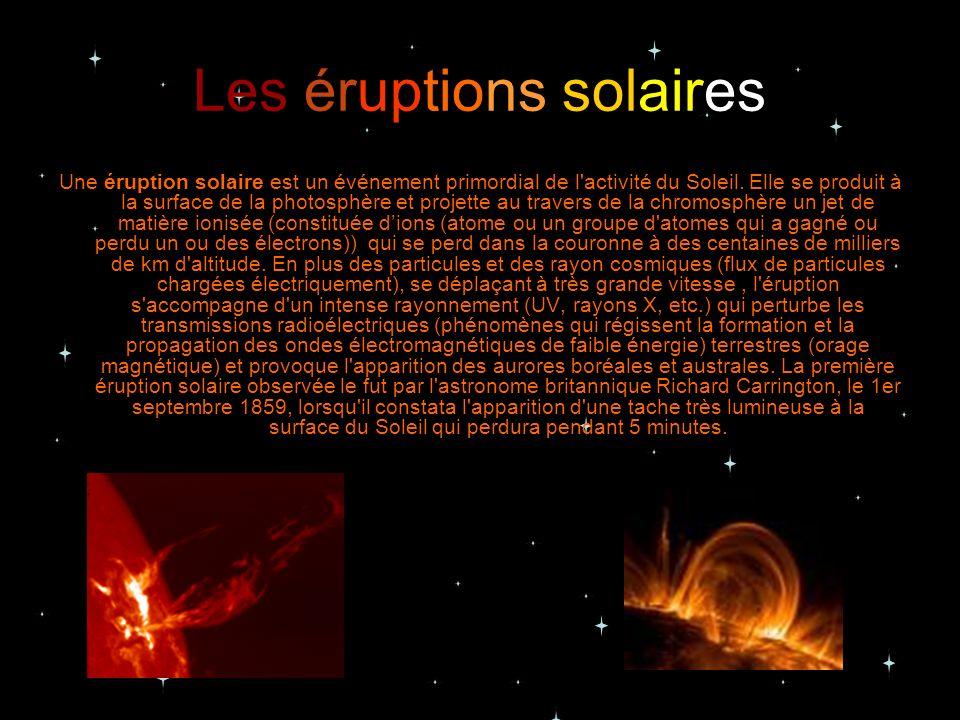 Les éruptions solaires Une éruption solaire est un événement primordial de l'activité du Soleil. Elle se produit à la surface de la photosphère et pro