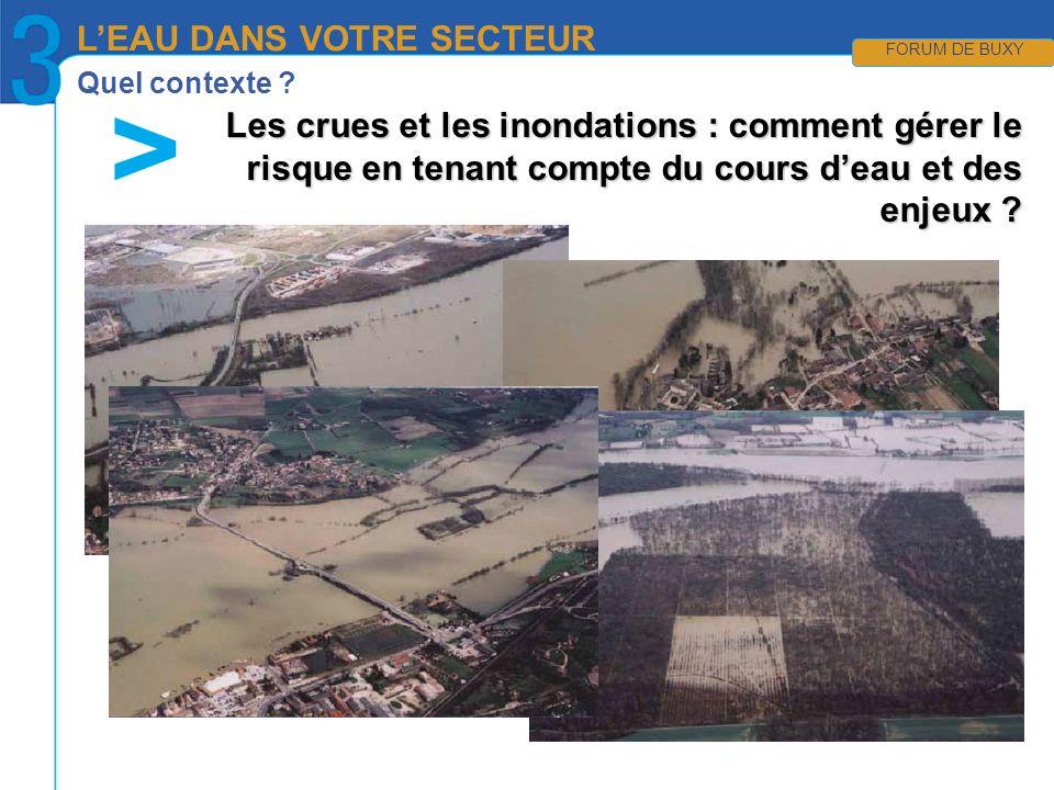Quel contexte ? LEAU DANS VOTRE SECTEUR FORUM DE BUXY Les crues et les inondations : comment gérer le risque en tenant compte du cours deau et des enj