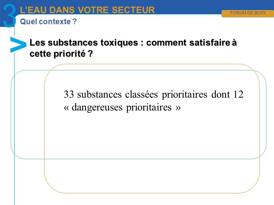 Quel contexte ? Les substances toxiques : comment satisfaire à cette priorité ? LEAU DANS VOTRE SECTEUR FORUM DE BUXY 33 substances classées prioritai