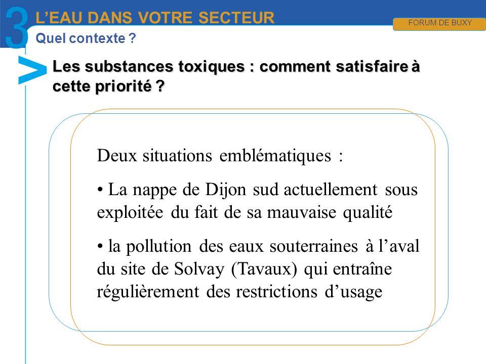 Quel contexte ? LEAU DANS VOTRE SECTEUR FORUM DE BUXY Deux situations emblématiques : La nappe de Dijon sud actuellement sous exploitée du fait de sa