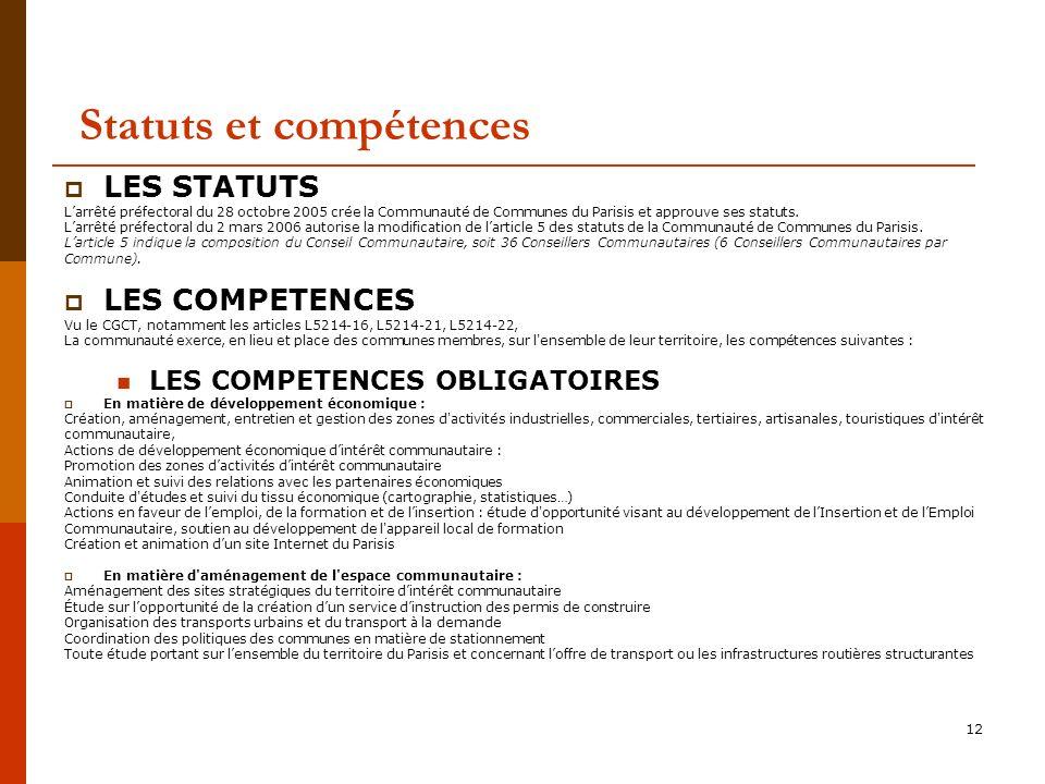 12 Statuts et compétences LES STATUTS Larrêté préfectoral du 28 octobre 2005 crée la Communauté de Communes du Parisis et approuve ses statuts.