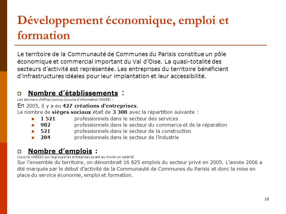 18 Développement économique, emploi et formation Le territoire de la Communauté de Communes du Parisis constitue un pôle économique et commercial important du Val dOise.