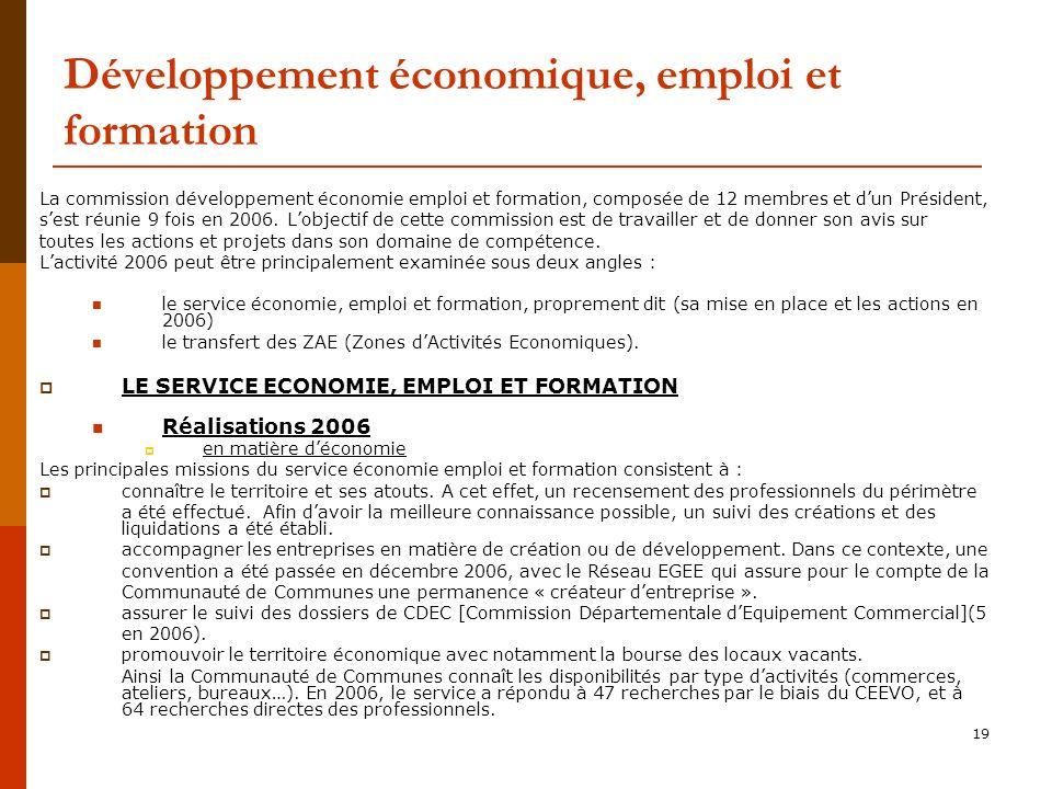19 Développement économique, emploi et formation La commission développement économie emploi et formation, composée de 12 membres et dun Président, sest réunie 9 fois en 2006.