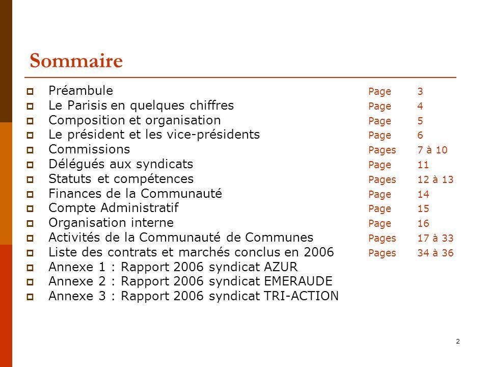 2 Sommaire Préambule Page 3 Le Parisis en quelques chiffres Page 4 Composition et organisation Page 5 Le président et les vice-présidents Page 6 Commissions Pages 7 à 10 Délégués aux syndicats Page 11 Statuts et compétences Pages 12 à 13 Finances de la Communauté Page 14 Compte Administratif Page 15 Organisation interne Page 16 Activités de la Communauté de Communes Pages 17 à 33 Liste des contrats et marchés conclus en 2006 Pages 34 à 36 Annexe 1 : Rapport 2006 syndicat AZUR Annexe 2 : Rapport 2006 syndicat EMERAUDE Annexe 3 : Rapport 2006 syndicat TRI-ACTION