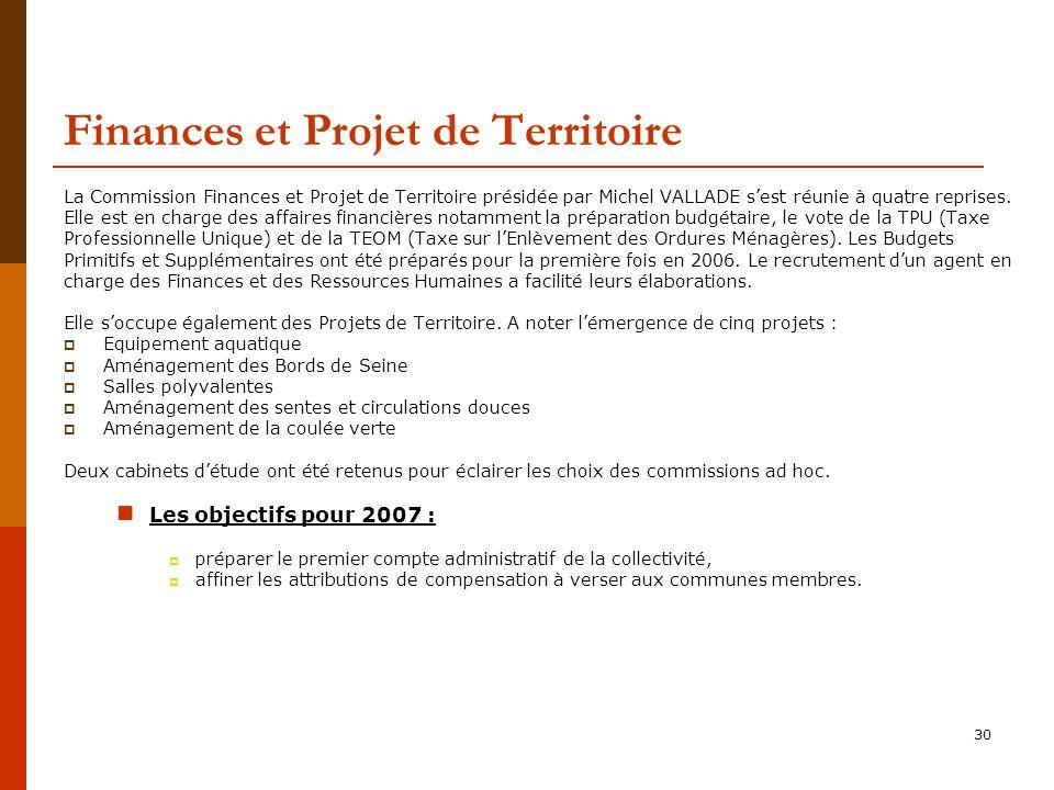 30 Finances et Projet de Territoire La Commission Finances et Projet de Territoire présidée par Michel VALLADE sest réunie à quatre reprises.