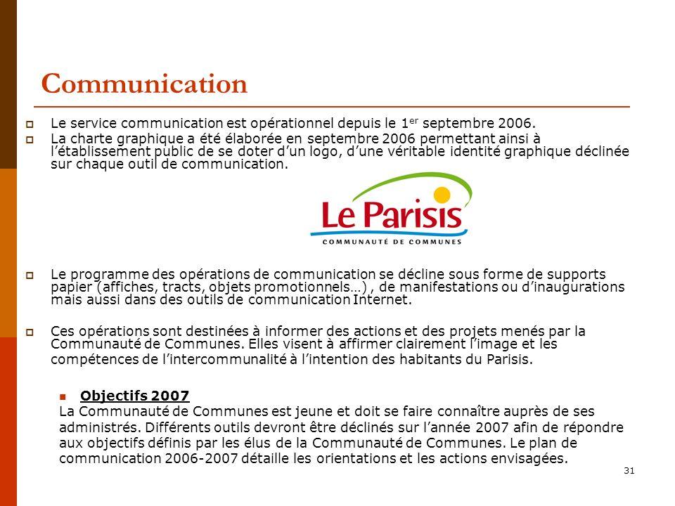 31 Communication Le service communication est opérationnel depuis le 1 er septembre 2006.
