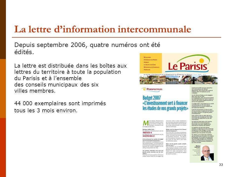 33 La lettre dinformation intercommunale Depuis septembre 2006, quatre numéros ont été édités.