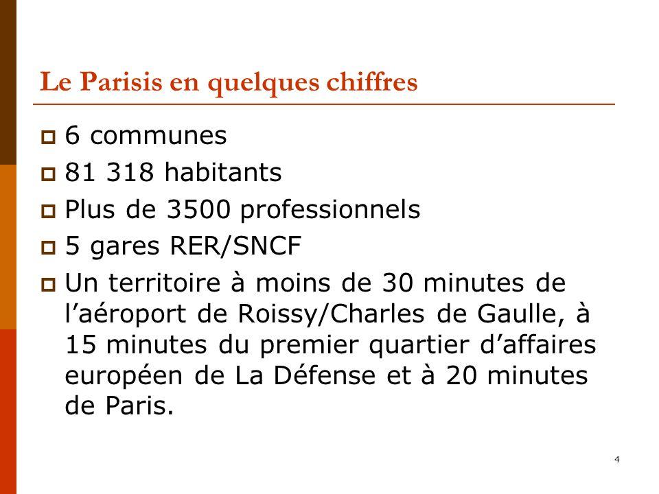 4 Le Parisis en quelques chiffres 6 communes 81 318 habitants Plus de 3500 professionnels 5 gares RER/SNCF Un territoire à moins de 30 minutes de laéroport de Roissy/Charles de Gaulle, à 15 minutes du premier quartier daffaires européen de La Défense et à 20 minutes de Paris.