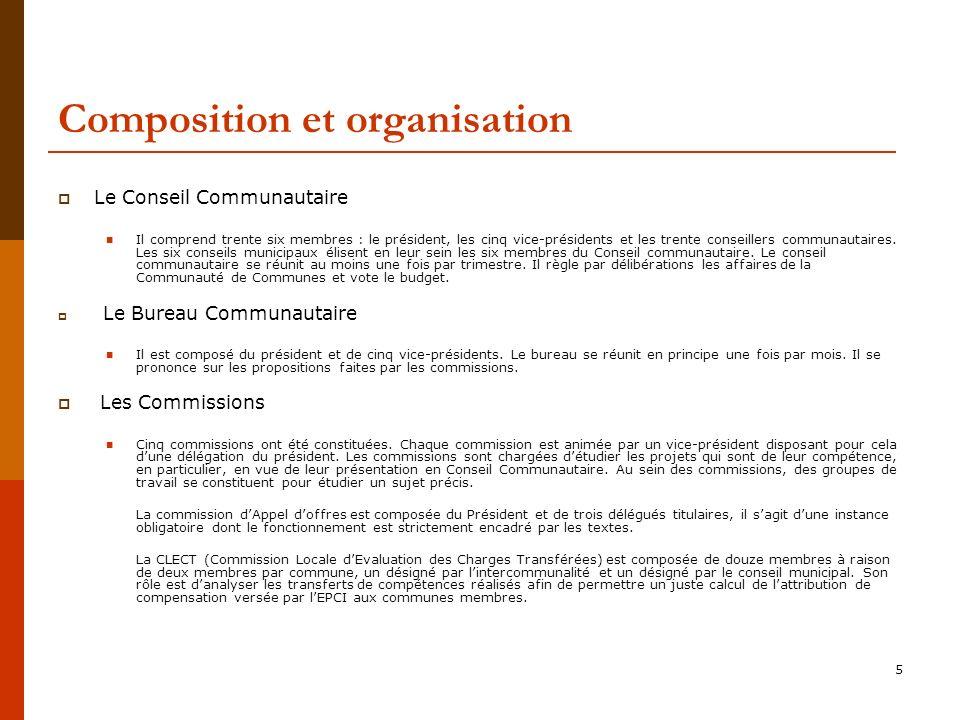 5 Composition et organisation Le Conseil Communautaire Il comprend trente six membres : le président, les cinq vice-présidents et les trente conseillers communautaires.