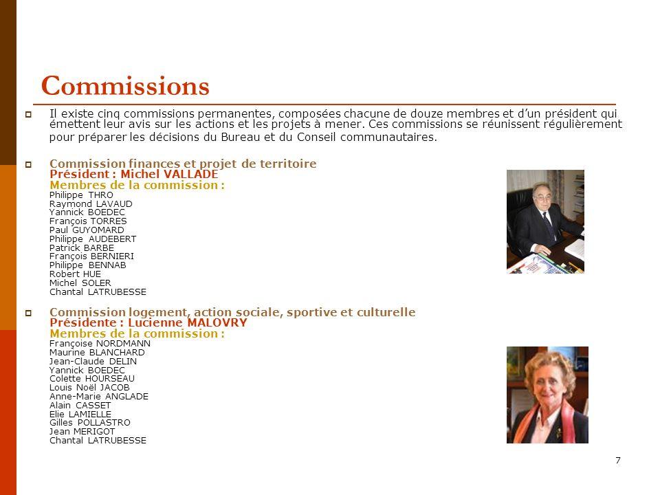 7 Commissions Il existe cinq commissions permanentes, composées chacune de douze membres et dun président qui émettent leur avis sur les actions et les projets à mener.