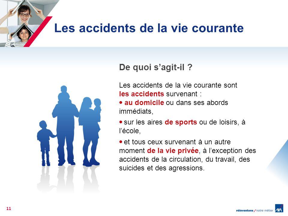 Les accidents de la vie courante 11 Les accidents de la vie courante sont les accidents survenant : au domicile ou dans ses abords immédiats, sur les