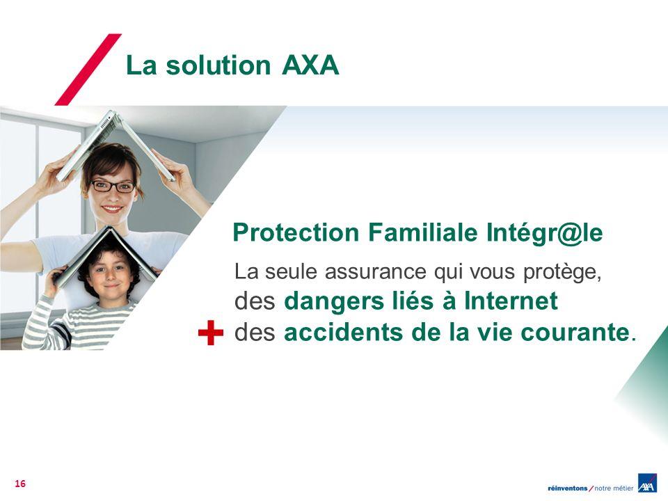 La solution AXA Protection Familiale Intégr@le La seule assurance qui vous protège, des dangers liés à Internet des accidents de la vie courante. 16 +