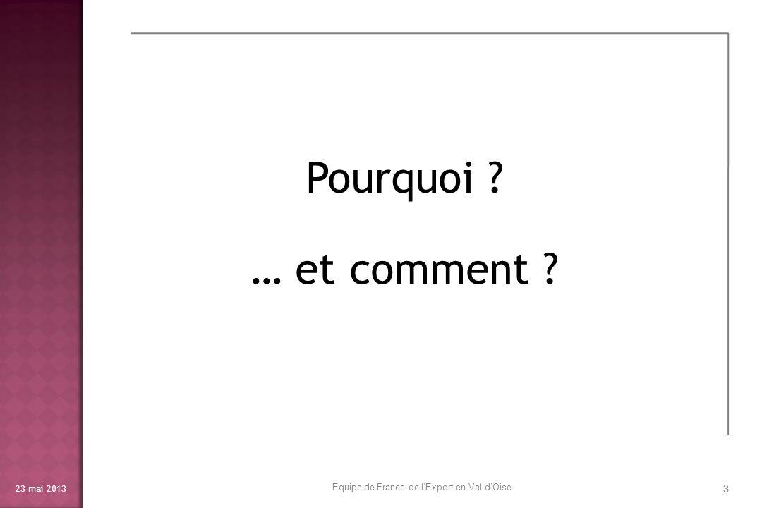 23 mai 2013 4 Pourquoi ? Equipe de France de lExport en Val dOise