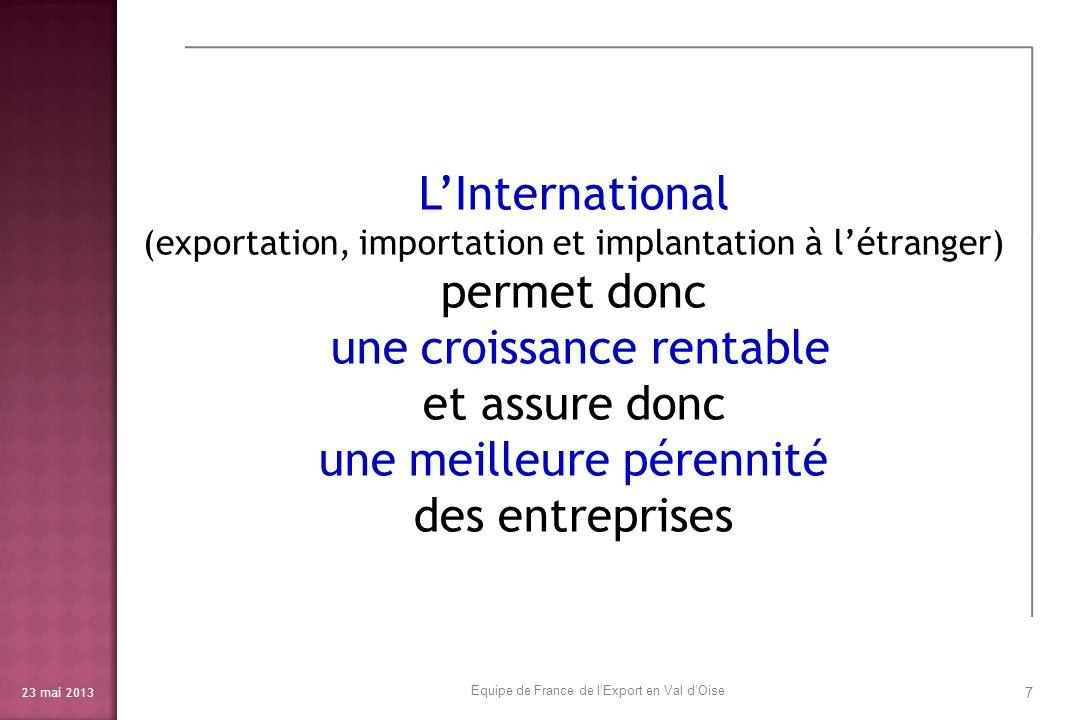 23 mai 2013 8 Aller au-delà des frontières permet de connaître les innovations internationales avant quelles ne viennent nous concurrencer en France dans nos marchés … Equipe de France de lExport en Val dOise